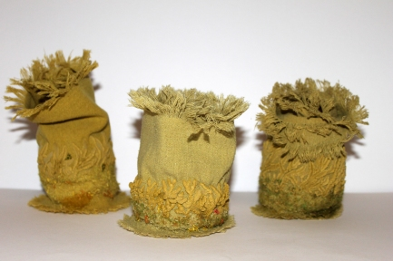 DGG Maria Boyle Lichen, silk sculptures, with needle felting, hand stitch and painted puff binder